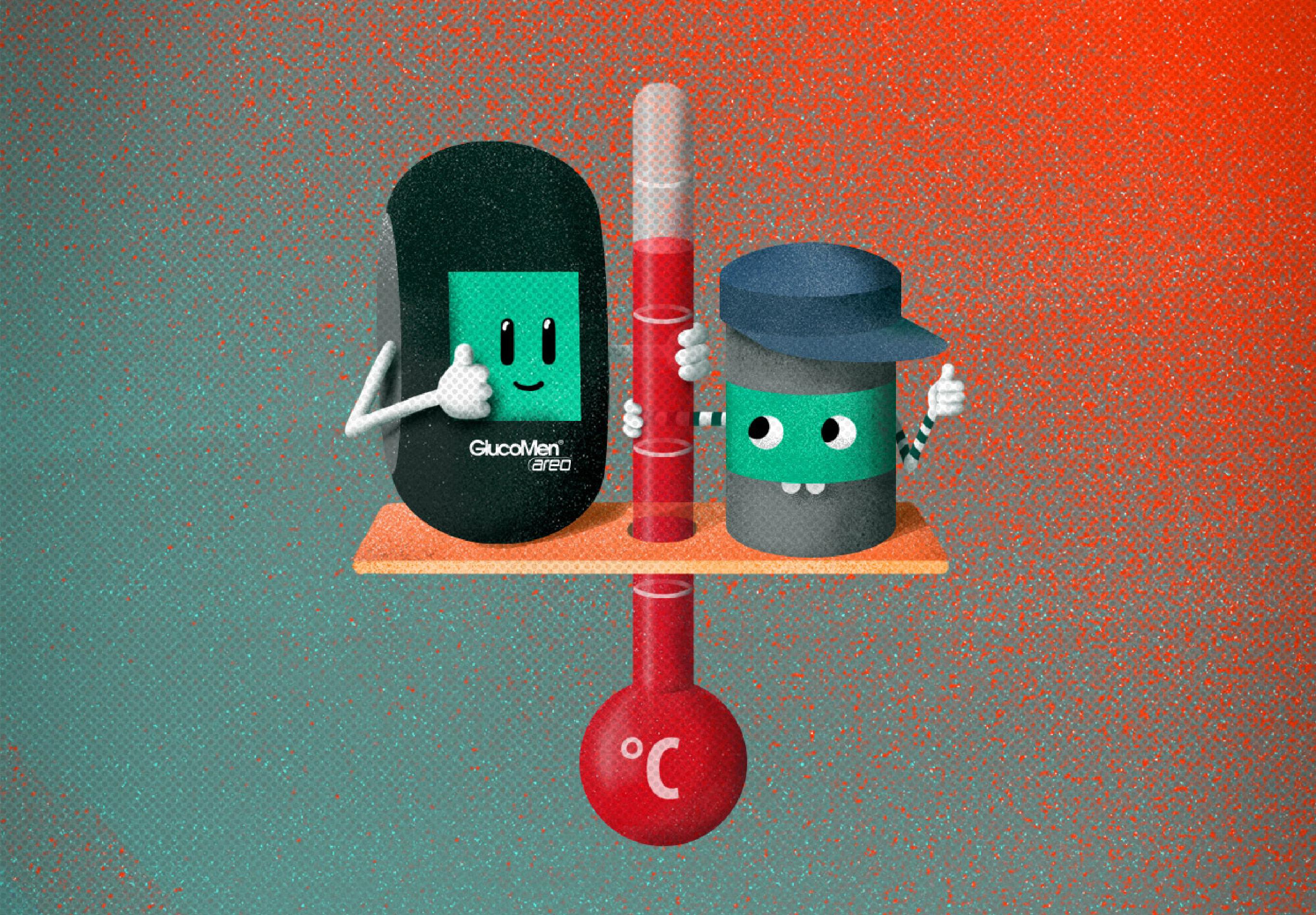 Eine Illustration einer Aufklärungskampagne der Healthcare Werbeagentur mcs mit dem Blutzuckermessgerät und einer Teststreifendose, die ein Thermometer halten