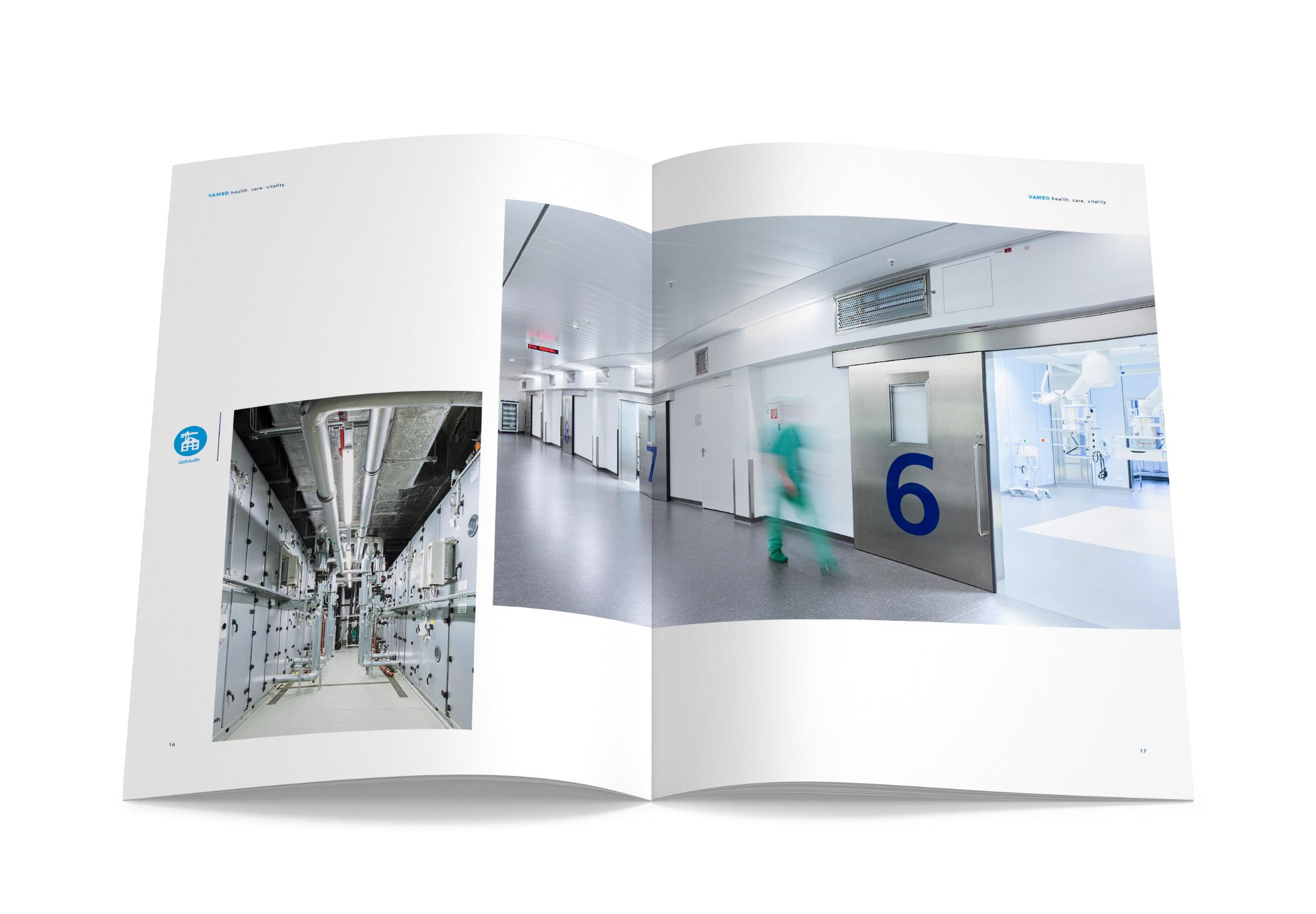 Doppelseite mit zwei großen Bildern, gestaltet von der Healthcare Werbeagentur mcs für die neue Imagebroschüre der VAMED