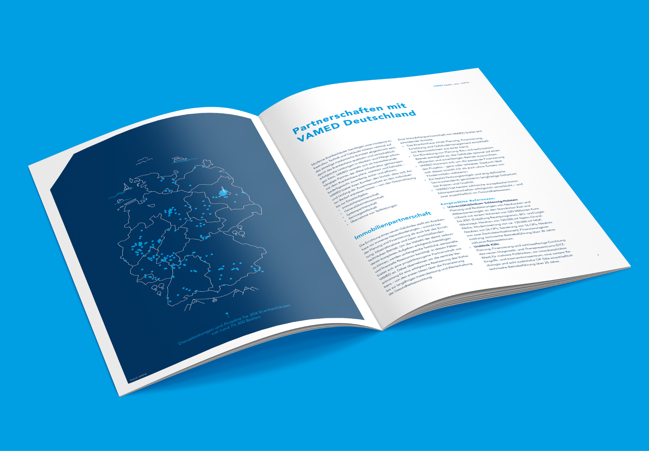 Doppelseite mit einer großen Illustration, gestaltet von der Healthcare Werbeagentur mcs für die neue Imagebroschüre der VAMED