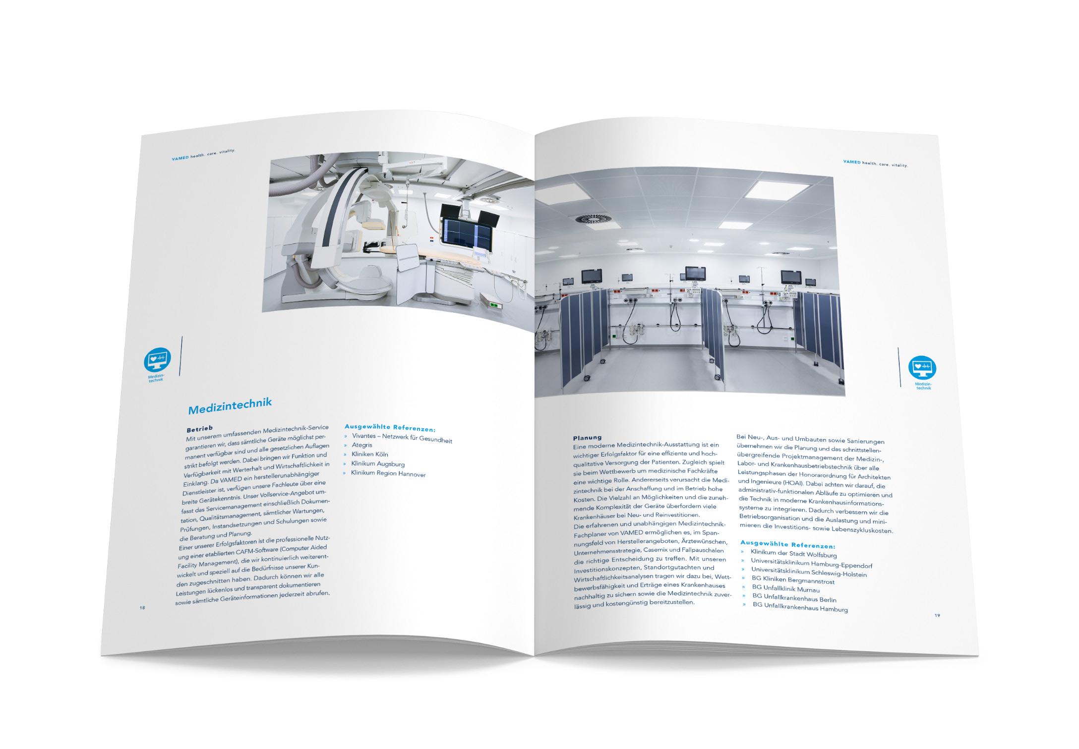 Doppelseite der neuen Imagebroschüre der VAMED, gestaltet von der Healthcare Werbeagentur mcs
