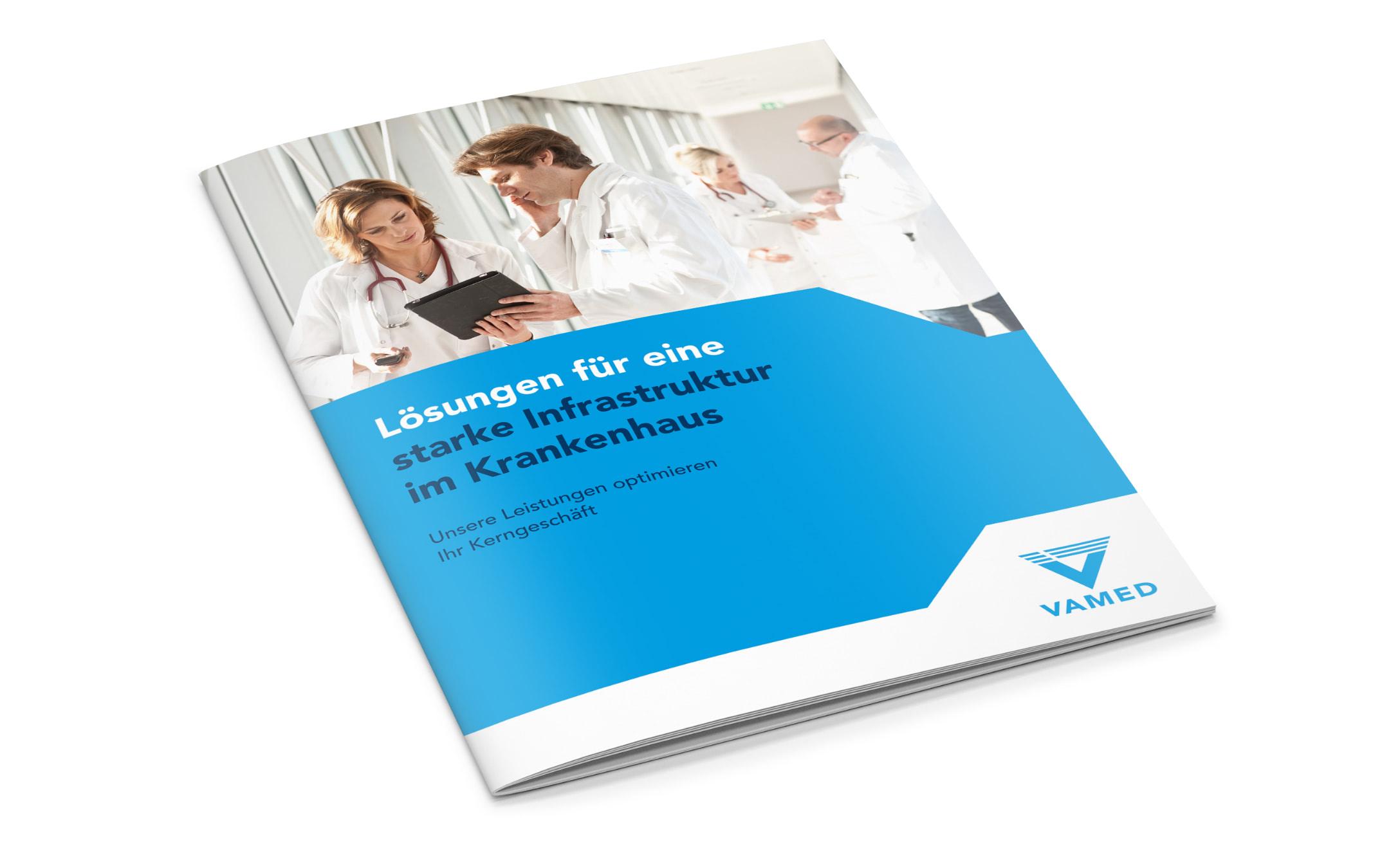 Cover einer Imagebroschüre der VAMED, neu gestaltet von der Healthcare Werbeagentur mcs