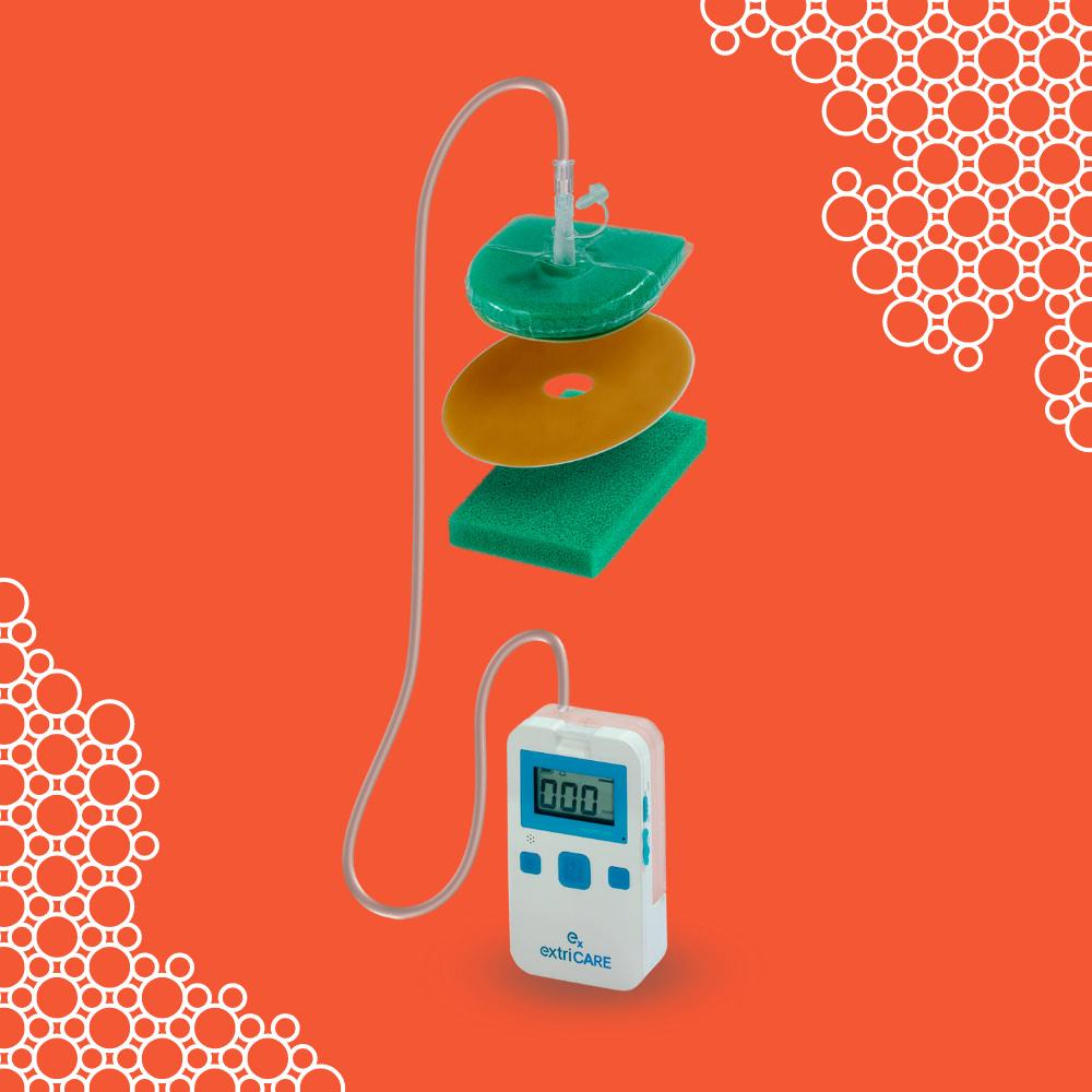 Key Visual und das Wundheilungs-Kit WoundBag® auf orangenem Hintergrund, CI-Elemente des Product Launches der Healthcare Werbeagentur mcs