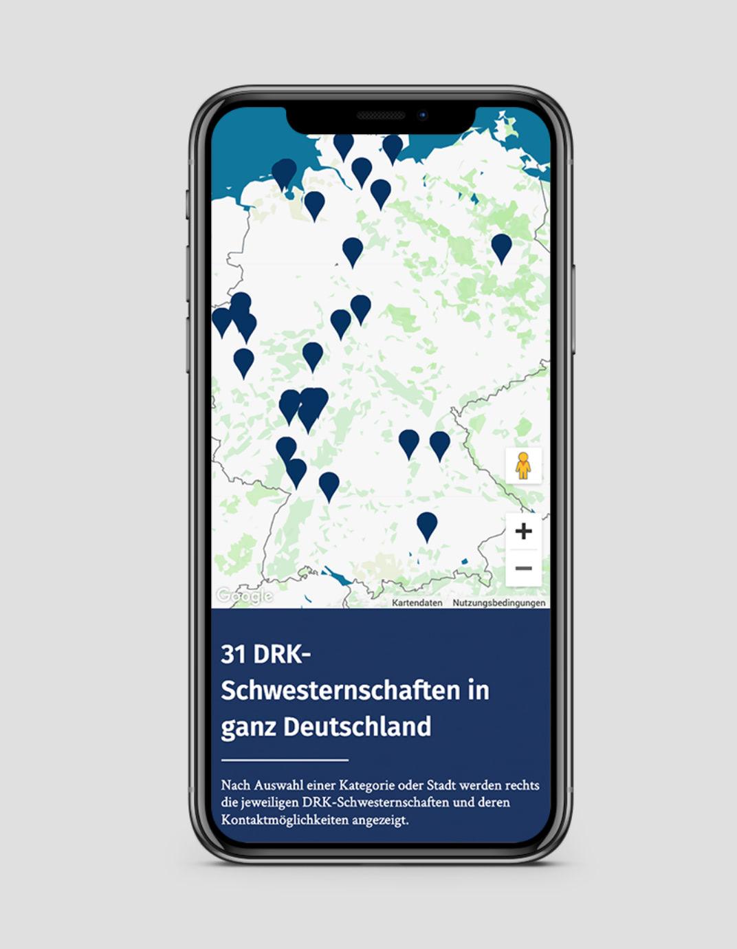 Ansicht einer Karte auf der Website des Verbands der Schwesternschaften vom DRK e.V. auf einem Smartphone, gestaltet von der Healthcare Agentur mcs