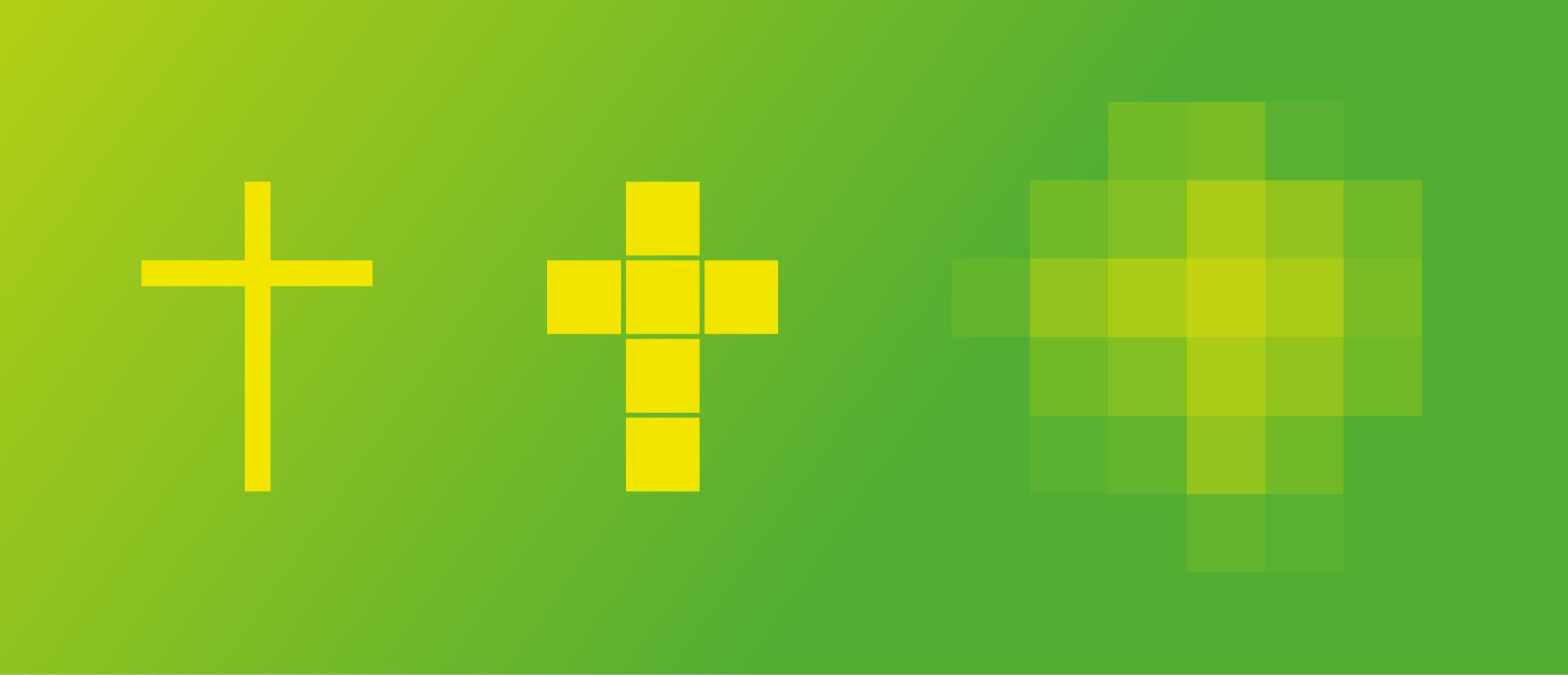 Veranschaulichung der Entstehung des stilisierten Kreuzes für das Redesign des Franziskus-Krankenhauses von der Healthcare Werbeagentur mcs