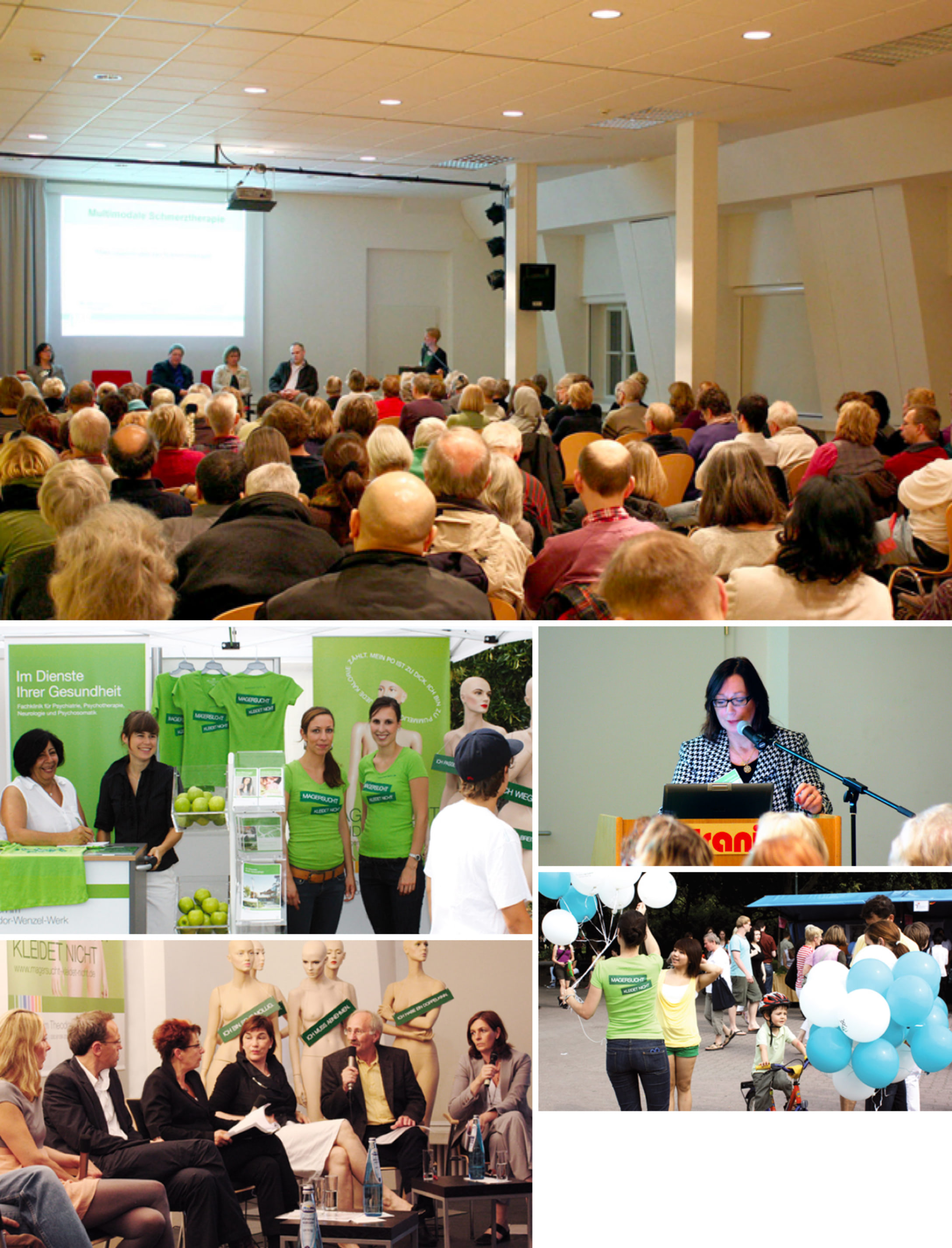 Collage von Bilder mit Impressionen der Bewerbung des von der Healthcare Werbeagentur mcs konzipierten Events und dem Event an sich