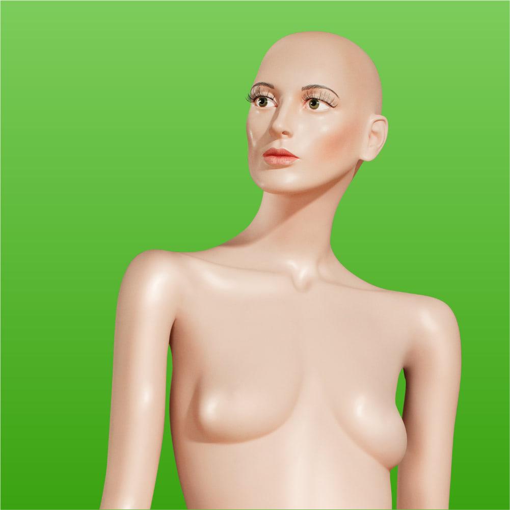 Titelmotiv einer Magersuchts-Aufklärungskampagne der Healthcare Werbeagentur mcs mit einer Schaufensterpuppe auf grünem Hintergrund