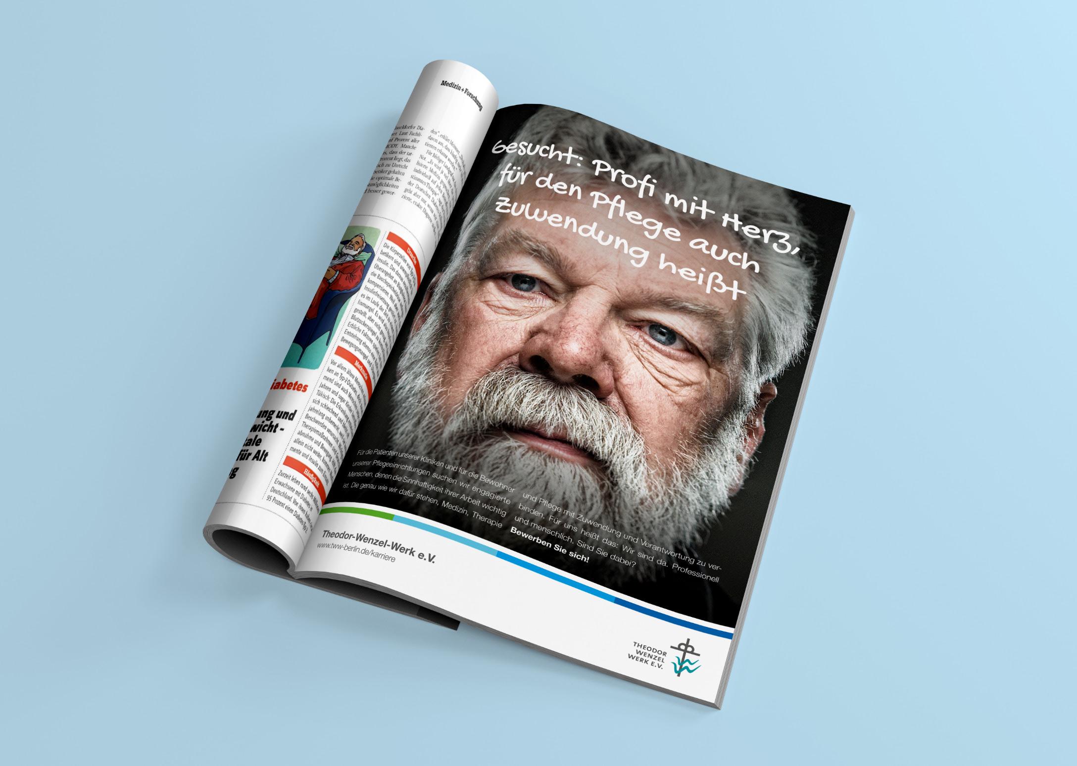 Ansicht des Kampagnenmotives als Anzeige in einer Zeitschrift, gestaltet von der Healthcare Werbeagentur mcs