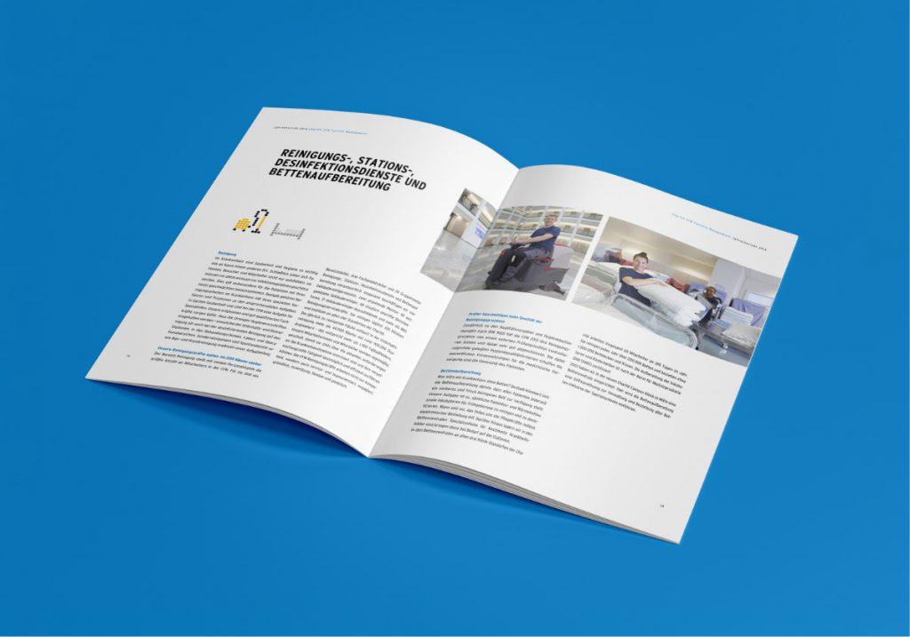 Von der Healthcare Werbeangentur entwickelter Geschäftsbericht für das Facility Management der Charité