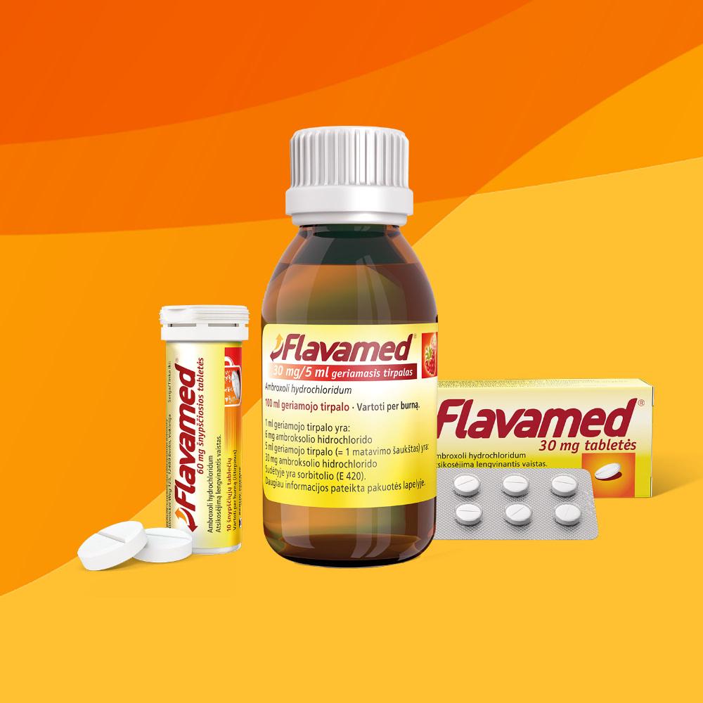 Packshot der OTC-Marke Flavamed® für den von der Healthcare Werbeagentur mcs umgesetzten Brand-Refresh