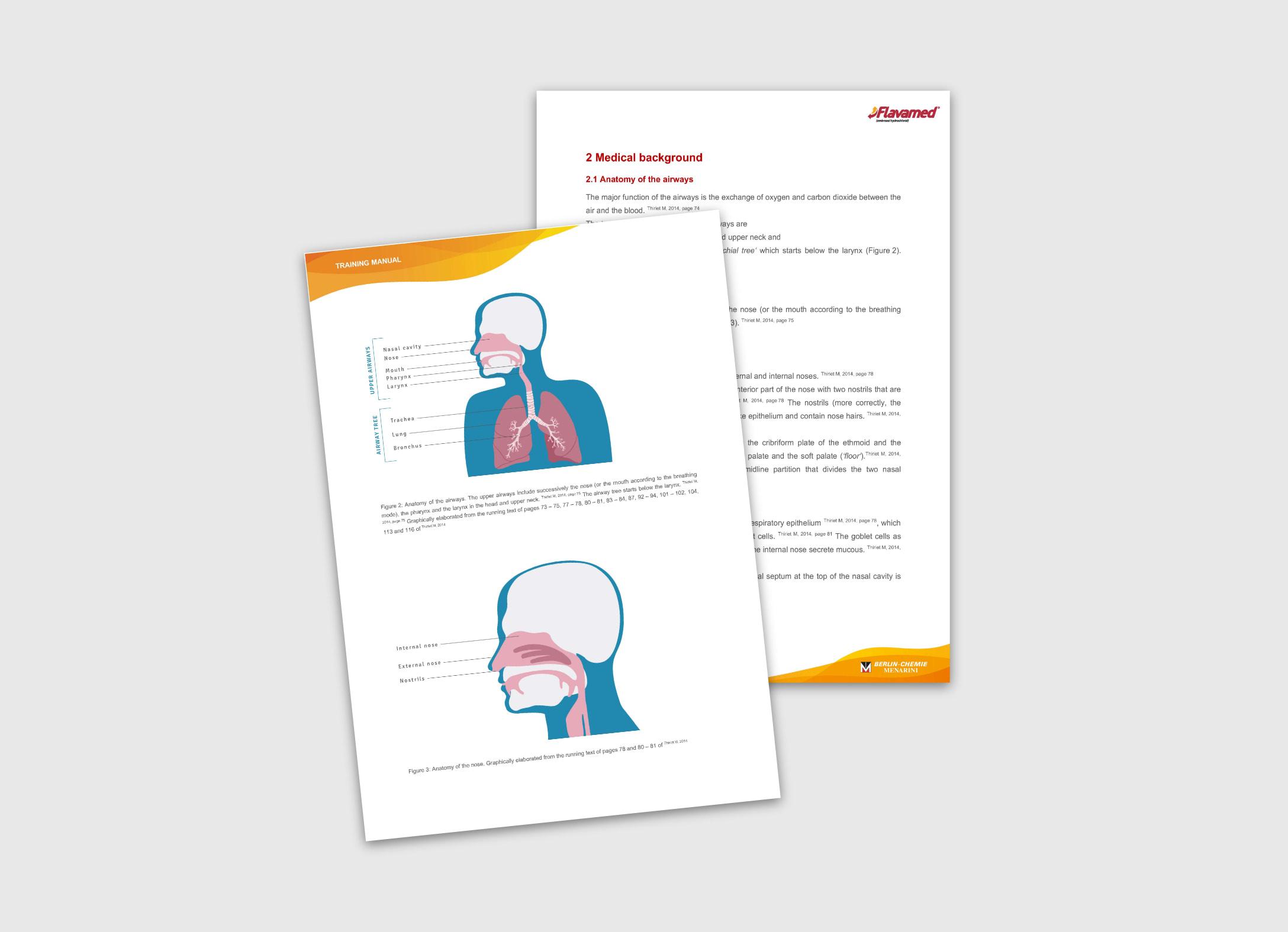 Ansichten des Training Manuals Flavamed von der Healthcare Werbeagentur mcs