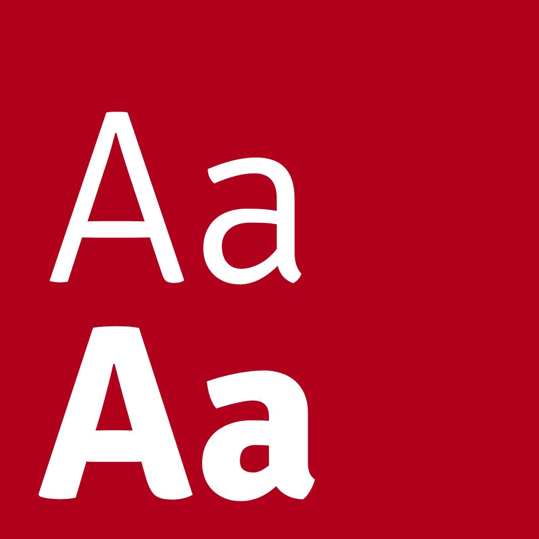 Große Buchstaben der neuen Schrift von Flavamed auf rotem Hintergrund, ausgewählt von der Healthcare Werbeagentur mcs