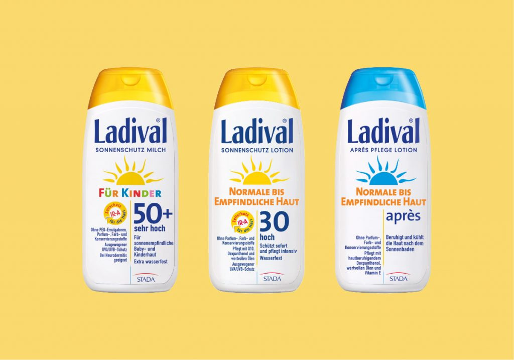Packshots von Sonnencreme der Marke Ladival, einem Kunden der Healthcare Agentur mcs