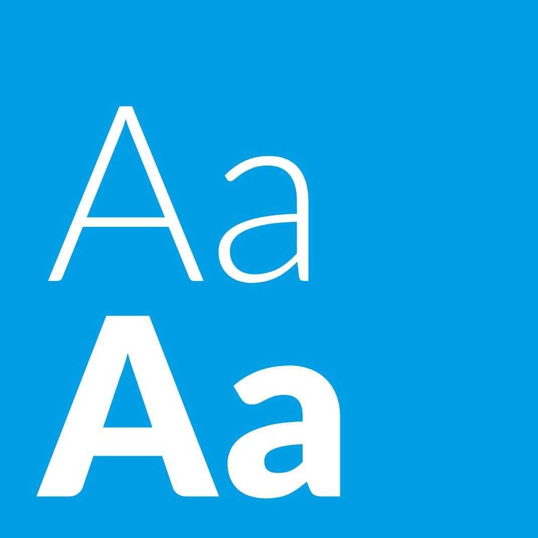 Große Buchstaben der neuen Schrift von Lioton auf blauen Hintergrund, ausgewählt von der Healthcare Werbeagentur mcs