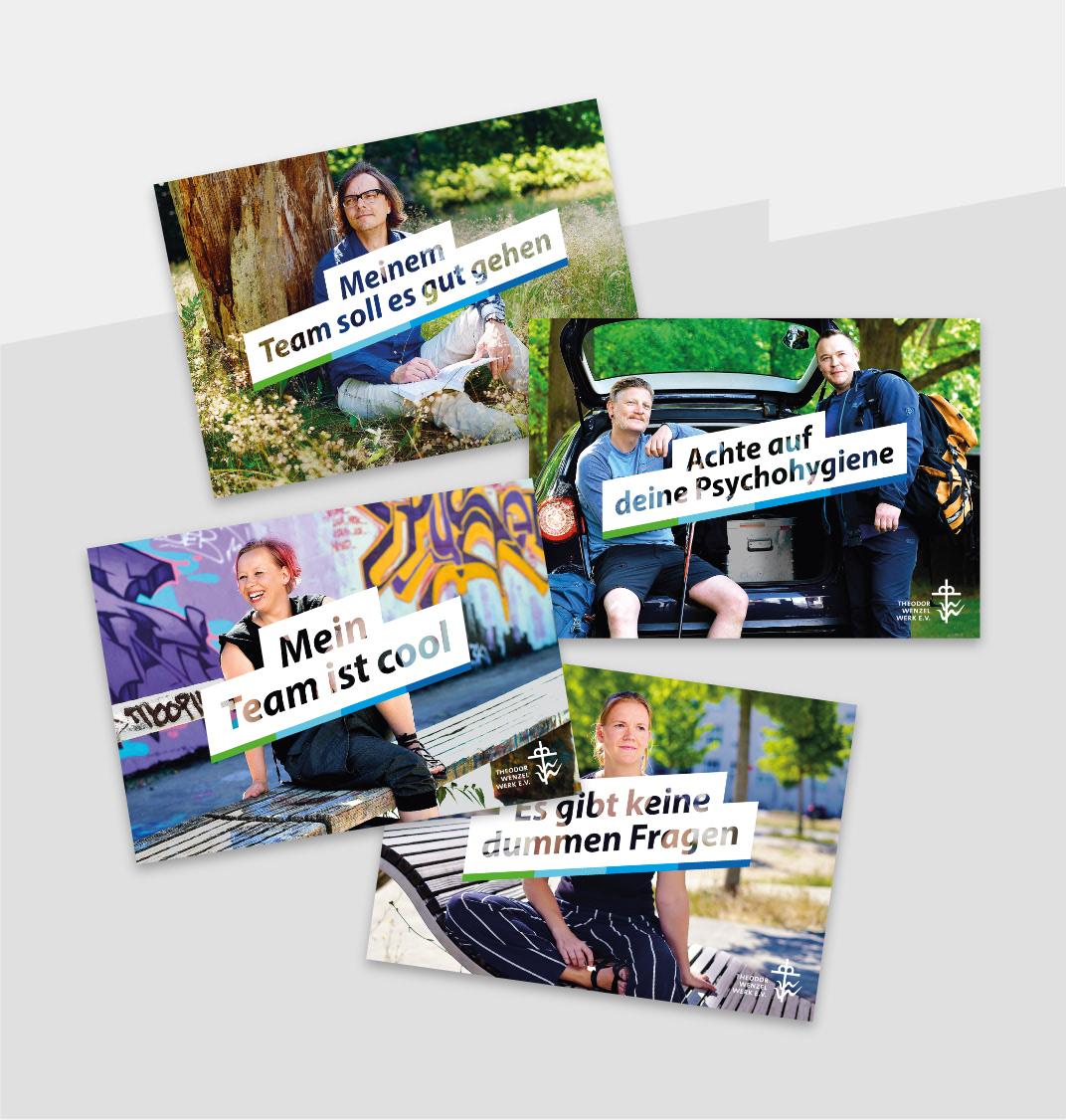 Ansammlung von vier Postkarten mit Titelmotiven der Pflegosophie-Kampagne, gestaltet von der Healthcare Werbeagentur mcs