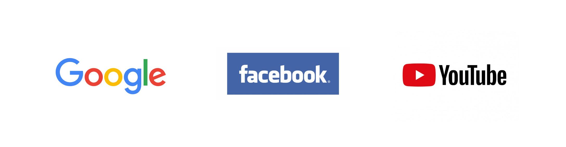 Logos von Google, Facebook und Youtube