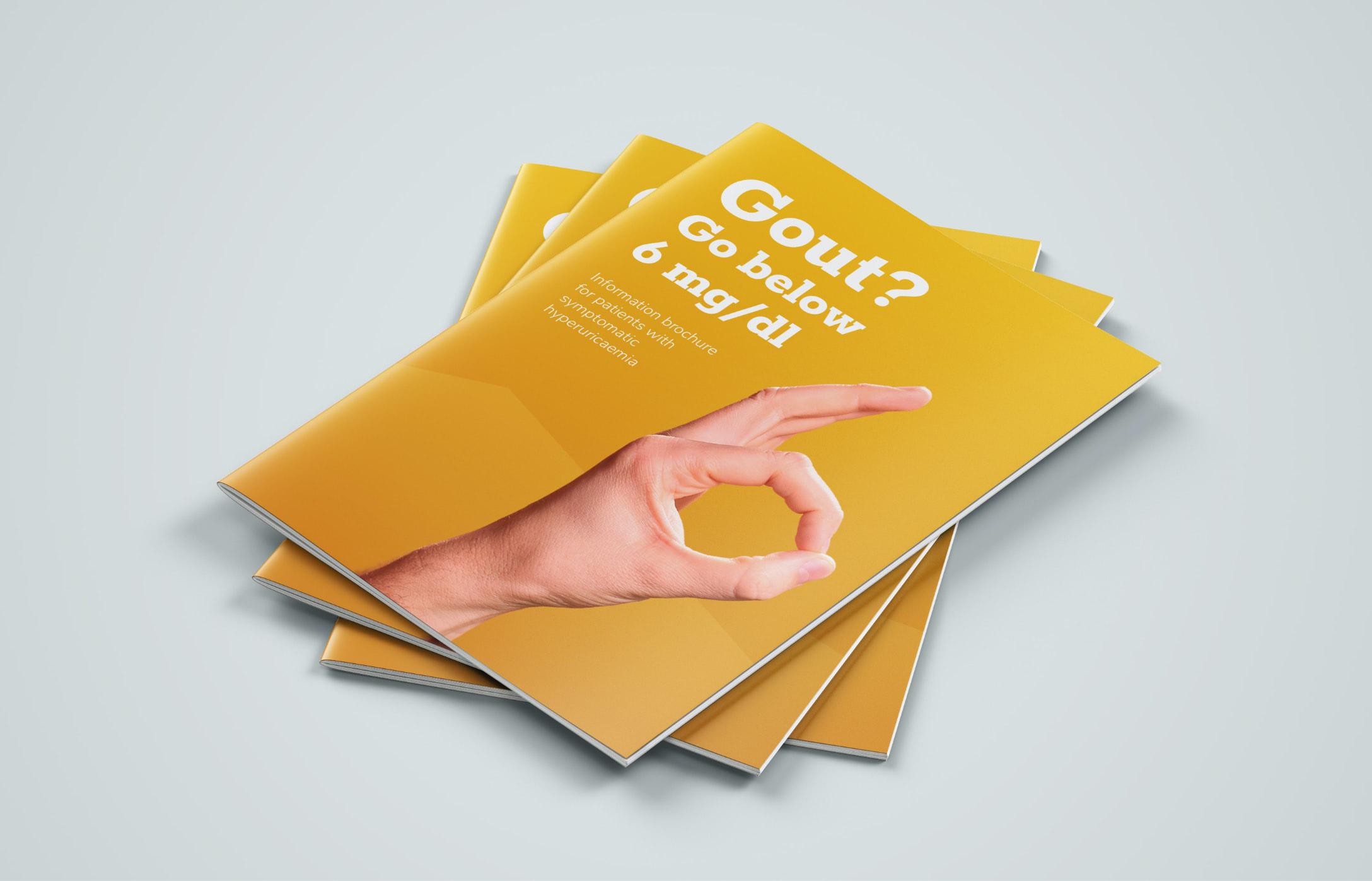 Ein Stapel Broschüren mit dem Cover der Gout Patient Brochure, gestaltet von der Healthcare Werbeagentur mcs