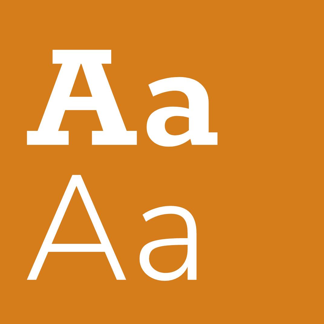 Große Buchstaben der neuen Schrift für die Gout-Website auf orangenem Hintergrund, ausgewählt von der Healthcare Werbeagentur mcs