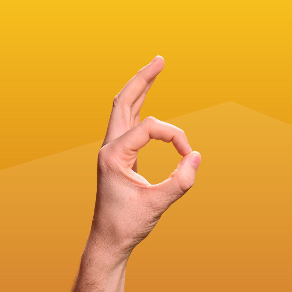 Eine Hand formt eine Sechs mit Daumen und Zeigefinger, entwickeltes Key Visual für die Patient-Awareness-Kampagne von der Healthcare Werbeagentur mcs